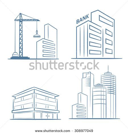 sketch line flat design business city stock vector 308977049