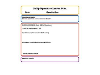 foreign language lesson plan template lesson plan templates for foreign language teachers tpt