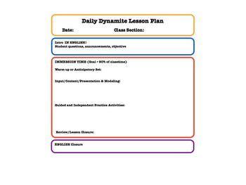 lesson plan templates for foreign language teachers tpt