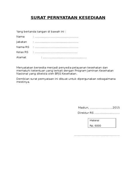 Contoh Surat Pernyataan Kesediaan Dari Mitra - Kumpulan