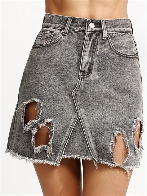 grey ripped high waist a line denim skirt