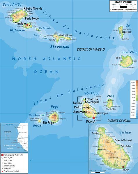 c verde map physical map of cape verde ezilon maps