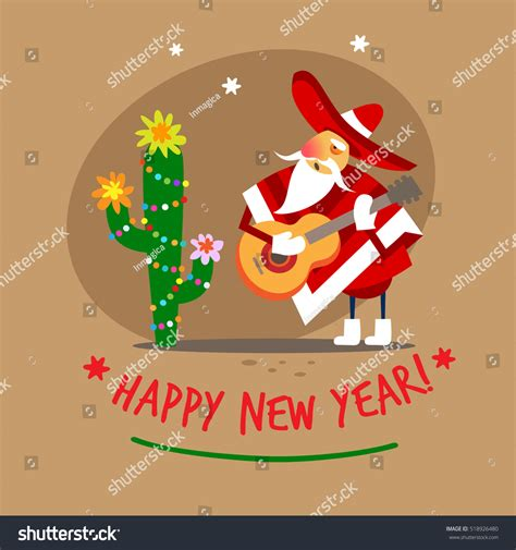 santa claus happy new year mexican stock vector 518926480