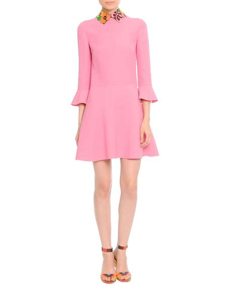 3 4 Sleeve Collared Dress valentino 3 4 sleeve leather collared dress
