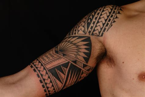 half arm sleeve tattoos for men maori polynesian polynesian half sleeve