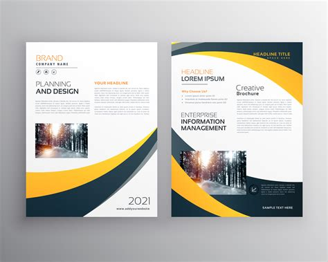 Modern Business Brochure Design Template With Yellow Black Wave Download Free Vector Art Company Brochure Template