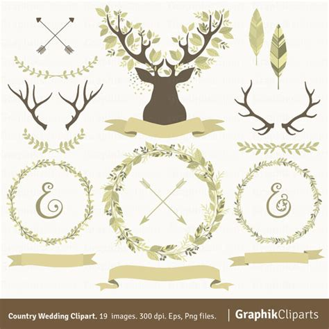 Laurel Wedding Clipart by Country Wedding Clipart Laurel Wreaths Branches Antlers