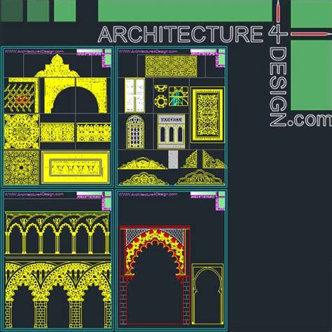 islamic pattern autocad free download 340 islamic architecture ornament motifs and arches for