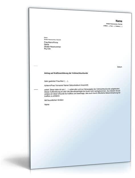 haftungsfreistellungserklärung bank antrag auf kraftloserkl 228 rung vollmacht musterbrief zum