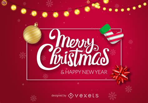 red shiny merry christmas design vector
