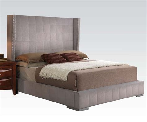 size gray velvet nailhead trim headboard platform bed