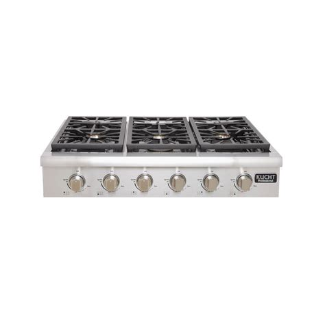 gas range tops kucht professional 36 in gas range top with 6 sealed burners in stainless steel
