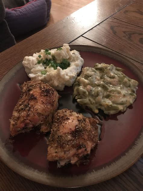 baked chicken thighs  sour cream baby red mashed