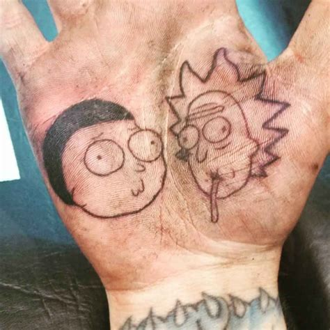 rick and morty tattoo rick and morty on palm best ideas gallery