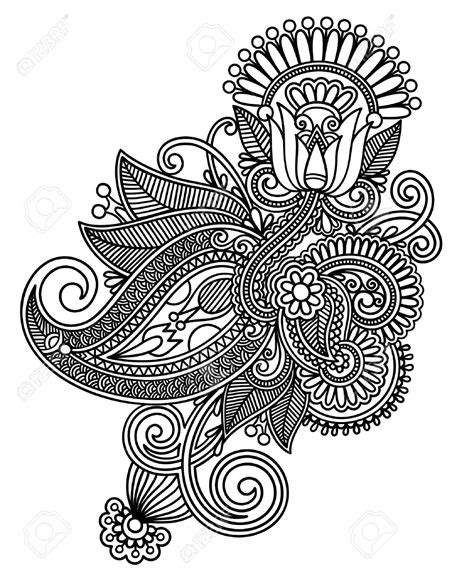 design art line 12976656 hand draw line art ornate flower design stock