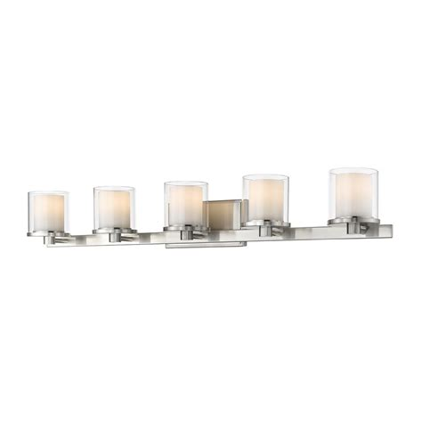 Glass Shades For Bathroom Vanity Lights 2 Light Brushed Nickel Vanity Bath Light With Glass Shades 20358 000 The Home Depot