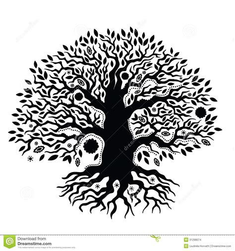 beautiful vintage hand drawn tree of life stock images