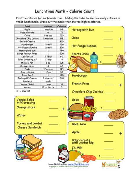 Ebooks 44542 High Five 2 Educacion Primaria Pupil by Calorie Count Math Worksheet For Elementary School