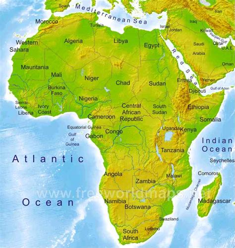 africa map geography africa physical map freeworldmaps net