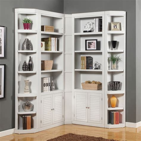 White Corner Bookcases House Boca Corner Bookcase Cottage White Bookcases At Hayneedle