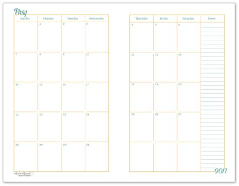 size monthly calendar printables layouts