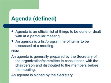 what is an agenda notice agenda and minutes if meeting