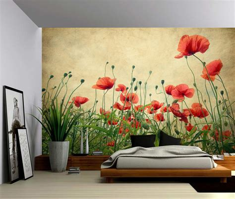 Wall Paper Wall Sticker Photo Wall Poppy 8 257 poppies flower self adhesive vinyl wallpaper peel stick fabric wall decal picture