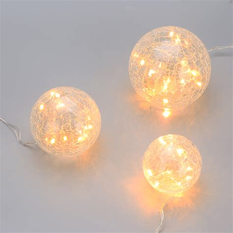 how to light balls 45leds indoor crackled glass hanging bauble