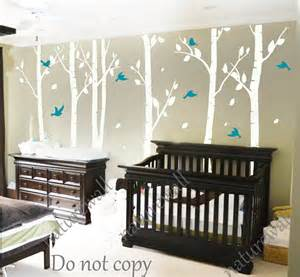 White Tree Wall Decal For Nursery White Birch Tree Decals Nursery Decals Wall By Naturewall