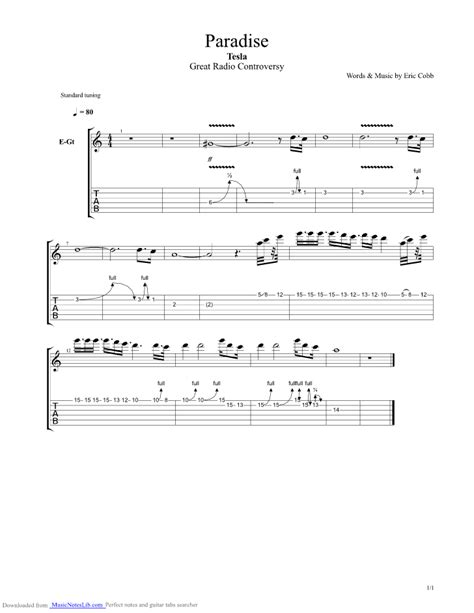 Song Tesla Tabs Paradise Guitar Pro Tab By Tesla Musicnoteslib