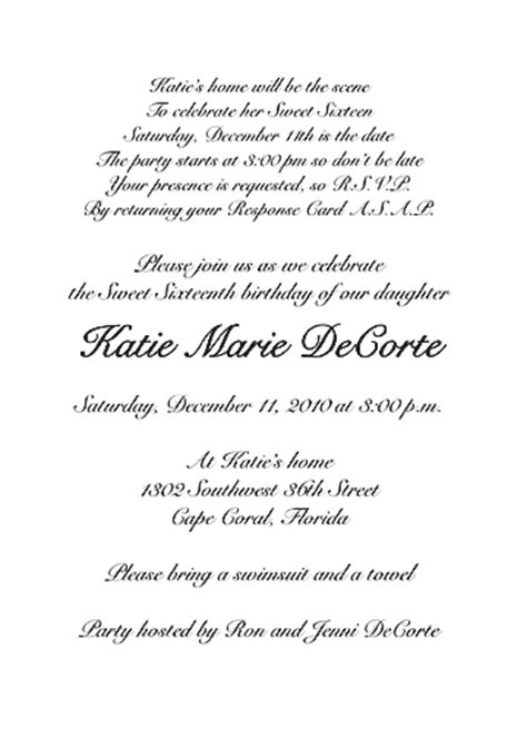 Wedding Invitations In Az by Sweet 16 Invitations Wording Sweet Sixteen Invitation