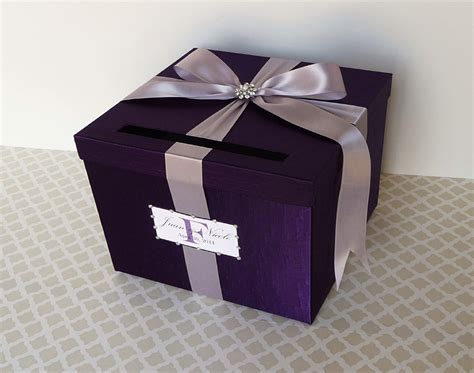 card box wedding card box purple money holder customizable