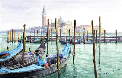 Home Decor Art Prints italy venice gondolas parked painting by yuriy shevchuk