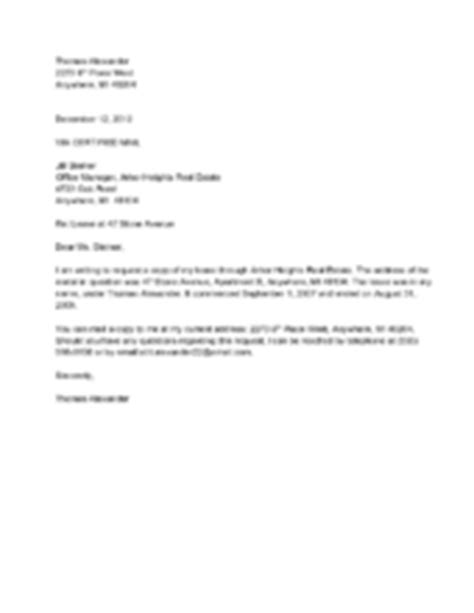 Lease Request Letter How To Request A Copy Of A Contract With Sle Letters