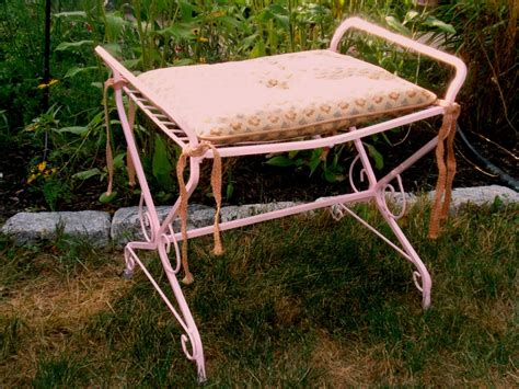 wrought iron vanity bench vintage pink vanity bench seat shabby chic wrought iron ebay