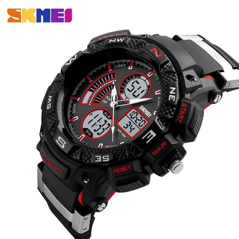 skmei jam tangan digital analog pria ad1211 black