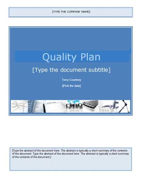 quality plan sle template quality plan template getprojecttemplates