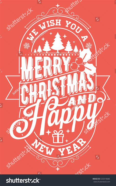 merry christmas  happy  year sign card stock vector illustration