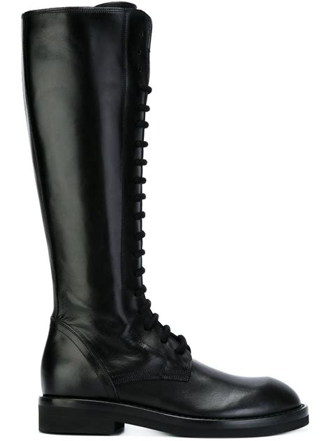 demeulemeester knee high lace up boots in black lyst