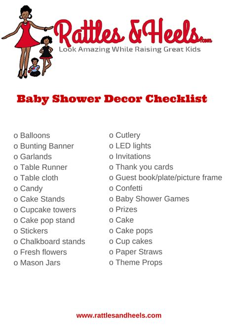 list of decorations fabulous baby shower decorations checklist printable