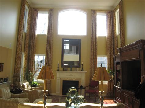 Window Treatments For High Short Windows - tall window treatments i like the simple rods but would prefer a plain color inside