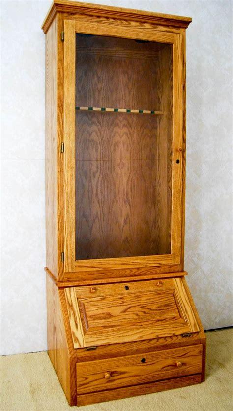 Dresser With Gun Cabinet by Oak Gun Cabinet De Vries Woodcrafters