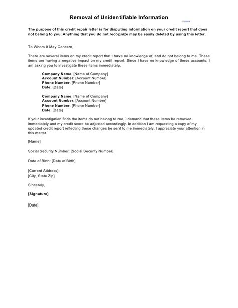 Removal Letter Of Credit Sle Letter Removal Of Unidentifiable Information