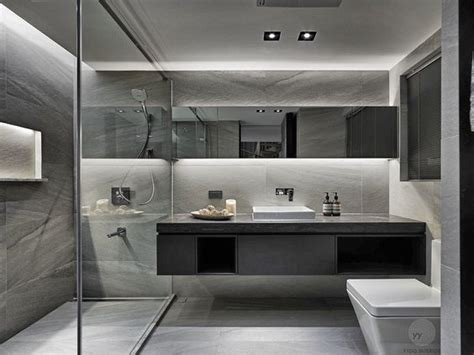 Modern Bathrooms Pinterest Floating Toilet And Vanity With Two Sinks And A Walk In Shower With Two Shower Heads And A