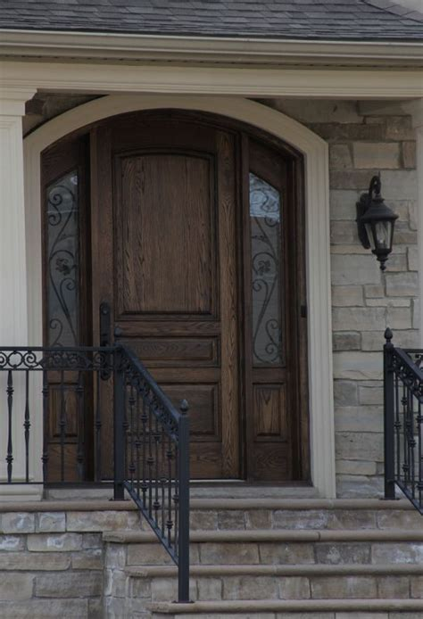 Solid Wood Front Door With Accent Side Panels Windows Front Door With Side Panels