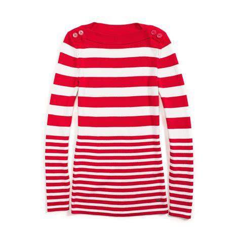 tommy hilfiger boat neck sweater tommy hilfiger multi stripe boat neck sweater in red