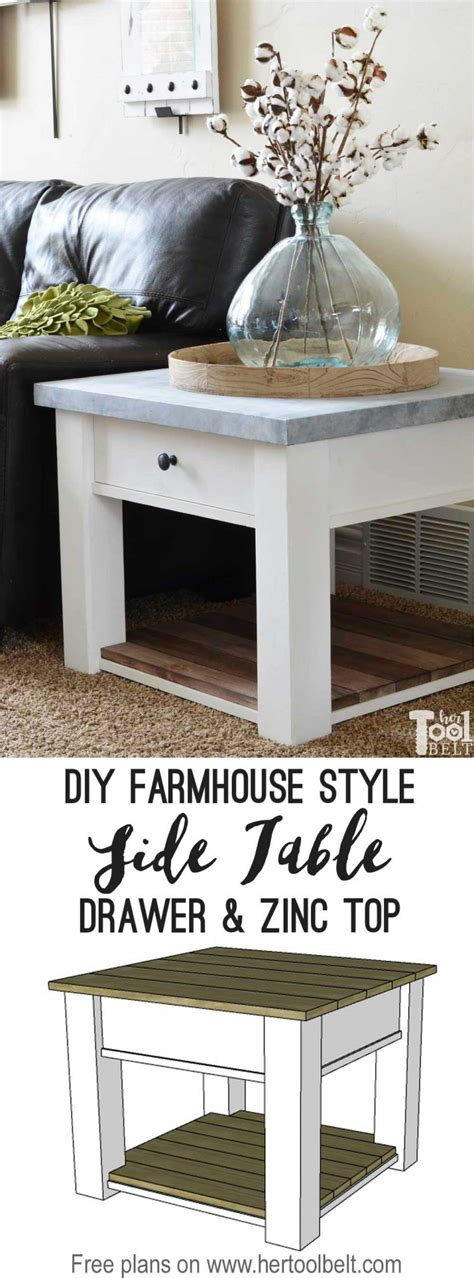 zinc top farmhouse side table  tool belt
