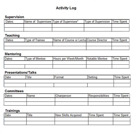 work journal template sle activity log template 5 free documents