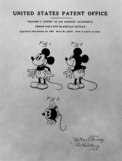 Mickey Original the original mickey mouse patent design drawing by dan sproul
