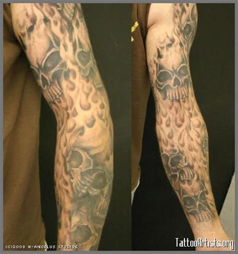 flame tattoo sleeve designs sleeve designs and skull